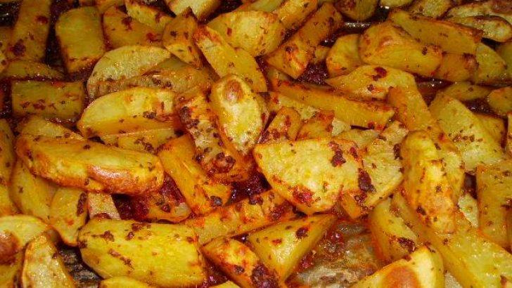 Fırında Kaşarlı Baharatlı Patates