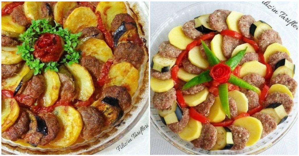 Fırında Patatesli Patlıcanlı Köfte
