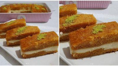 Kremalı Ekmek Kadayıfı Tatlısı