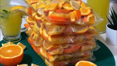 Yaz için Buzlukta Portakal ve Limon Saklama