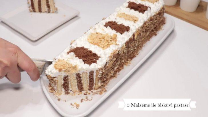 3 Malzemeli Bisküvi Pastası