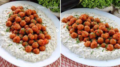 Yoğurtlu Köz Patlıcan ve Bulgur Köftesi