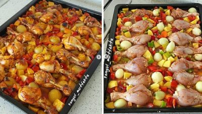 Fırında Patatesli Sebzeli Tavuk Tarifi